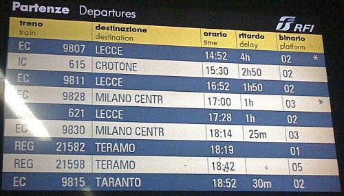 Ritardi Trenitalia Dicembre 2009