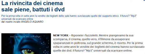 La rivincita del cinema e gli MP3