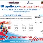 Diploma partecipazione alla mezza maratona di San Benedetto del Tronto